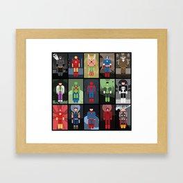 15 Superheroes Framed Art Print