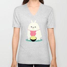 Fat bunny eating noodles Unisex V-Neck