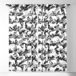 Black and White Catmouflage Camouflage Blackout Curtain