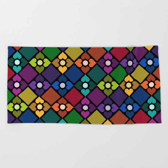 Colorful Floral Pattern Beach Towel