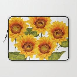 Design Five Sunflower on white Background Laptop Sleeve