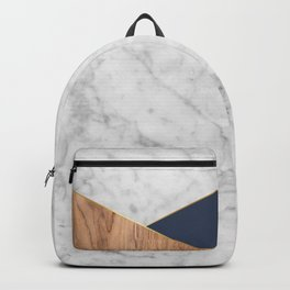 White Marble - Wood & Navy #599 Backpack