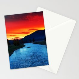 Yellowstone National Park River and Mountain Sunset Stationery Cards