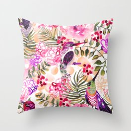 Hummingbird Garden Throw Pillow