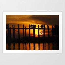 Sunset at U Bein Bridge, Myanmar Art Print
