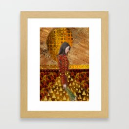 Woman in Red and Gold Framed Art Print