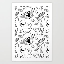Cryptid Pattern: Ink Lines Art Print
