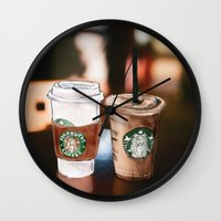 starbucks Wall Clocks featuring Starbucks Coffee  by Sara Eshak