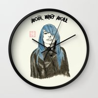 rock and roll Wall Clocks featuring Rock and Roll by Bryan James