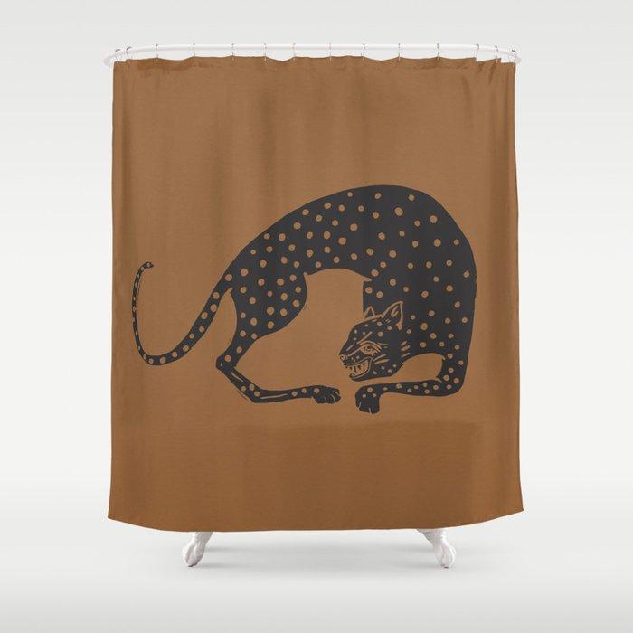Blockprint Cheetah Shower Curtain By Megangalante