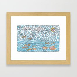 Doodle landscape with water sun fish and clouds Framed Art Print
