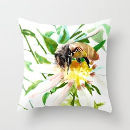 Bee and Flower, Honey Bee, chamomile herbal honey design Throw Pillow