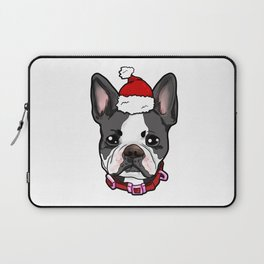 Boston Terrier Dog Christmas Hat Present Laptop Sleeve