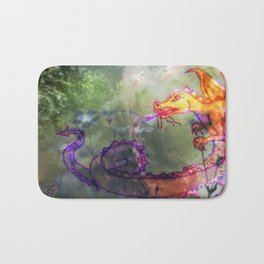 Garden of the Hesperides, digital art with fierce dragon Bath Mat