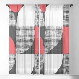 Textured Mid-century Circles No.6 Sheer Curtain