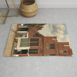 """Johannes Vermeer """"View on Houses in Delft (also known as 'The Little Street')"""" Rug"""