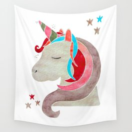 MAGICAL DREAMING UNICORN - RED PALETTE Wall Tapestry
