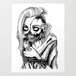 Smoking Zombie Art Print