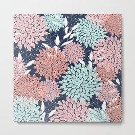 Floral Prints and Leaves, Navy, Aqua Coral and Pink Metal Print