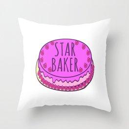 Star Baker Baking Design For Bakers T-shirt Design Fork Knife Cherry Icing Cake Dessert Buttons Throw Pillow
