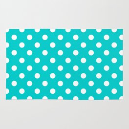 Small Polka Dots - White on Cyan Rug