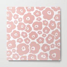 Retro Flower Pattern 124 Dusty Rose Metal Print