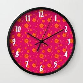 Orange Daisy Flowers on Hot Pink Background Wall Clock