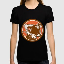 Metalworker Operating Grinder Woodcut Circle Retro T-shirt