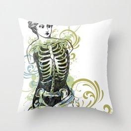 Skeleton Lady Venus Di Zombie Throw Pillow