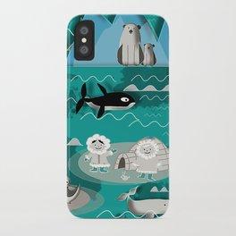 Arctic animals teal iPhone Case