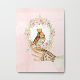 Owl on the hand Metal Print