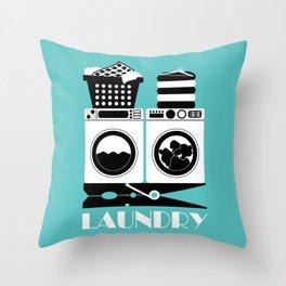 Retro Laundry Sign - Turquoise, Black and White Throw Pillow