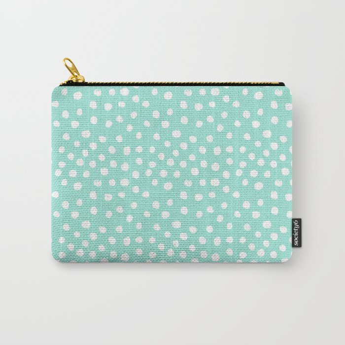 Preppy mint  dots polka dots abstract minimal white brushstroke dot pattern print painting  Carry-All Pouch