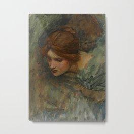 John William Waterhouse Study of the Head of Venus in the Awakening of Adonis 1917 Metal Print