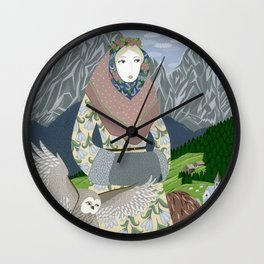 Lady with an owl and a dog Wall Clock