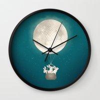 bunnies Wall Clocks featuring moon bunnies by Laura Graves