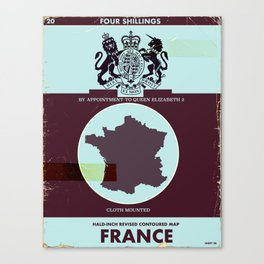 France vintage worn style map poster Canvas Print
