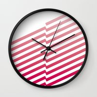 bands Wall Clocks featuring Red Bands by blacknote