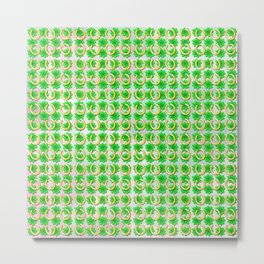 Lucky with gold horseshoes and four leaf clovers Metal Print