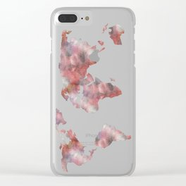 World Map in City Mod Red Slate Clear iPhone Case