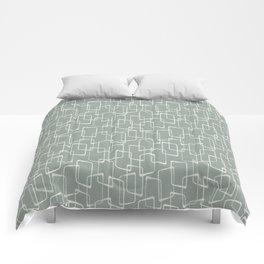 Gray Green Retro Geometric Pattern Comforters