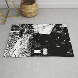 Cafe Terrace at Night By Vincent Van Gogh in Black and White Rug