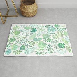 Green tropical leaves pattern Rug