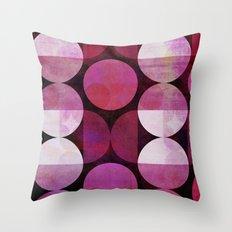 fashionable red pink grunge circle pattern Throw Pillow