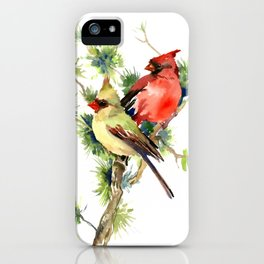 Cardinal Birds on Pine Tree iPhone Case