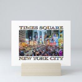 Times Square Tourists (with type) Mini Art Print