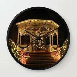 Gazebo Dressed for Christmas Wall Clock