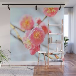 Delicate Pink & Yellow Flowers Wall Mural
