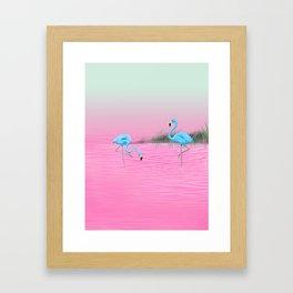 Pink Lake and the Blue Flamingos Framed Art Print