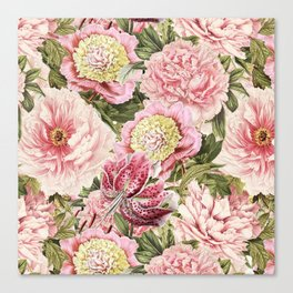 Vintage & Shabby Chic Floral Peony & Lily Flowers Watercolor Pattern Canvas Print